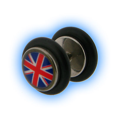 Union Jack Design Fake Plain Ear Stretching Plug