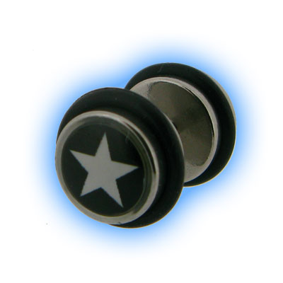 Star Design Fake Plain Ear Stretching Plug
