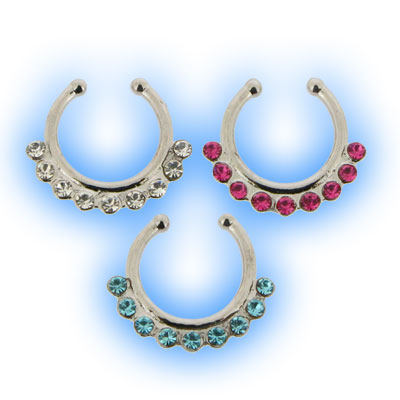 Multi Jewelled Non Piercing Septum Rings