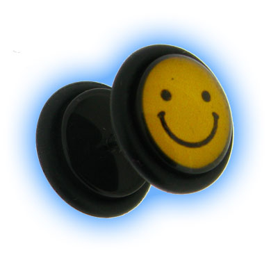 Acrylic Fake Ear Plug - Smiley