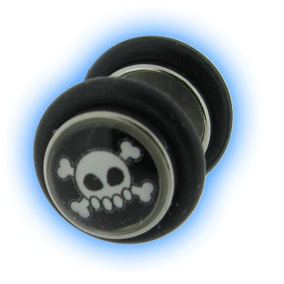 Skull and Crossbones Design Fake Plain Ear Stretching Plug