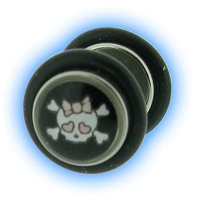 Skull and Crossbones Girly Design Fake Plain Ear Stretching Plug