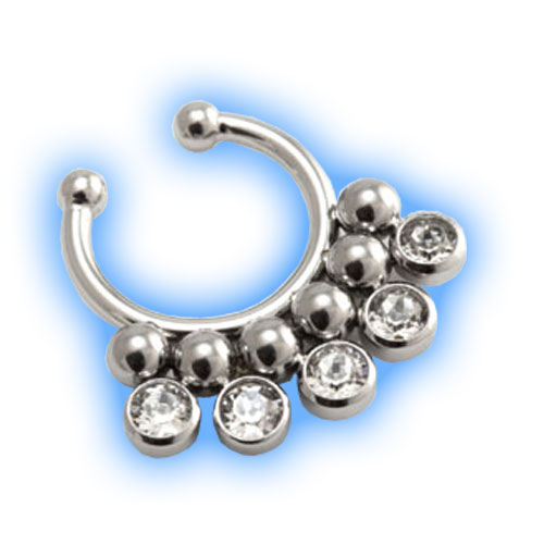 Fake Steel Dotty Jewelled Septum Ring