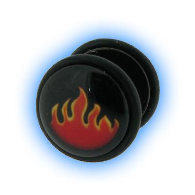 Fake Black PVD Ear Stretching Mirage Plug - Flames