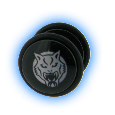 Fake Black PVD Ear Stretching Mirage Plug - Wildcat