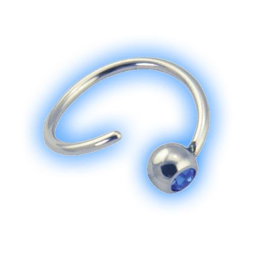 Jewelled Fixed Bead Ball Closure Ring