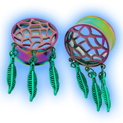 Dreamcatcher Ear Tunnel in Rainbow