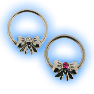 Stainless Steel Nipple Ring with Jewelled Bow