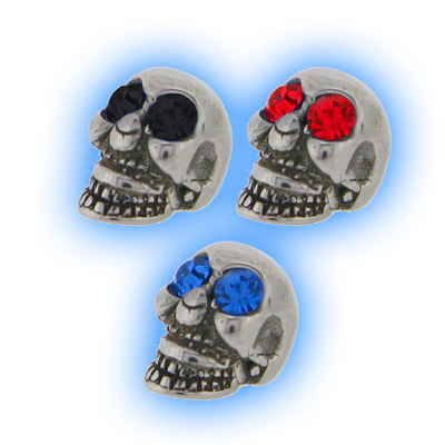 Stainless Steel Screw On Jewelled Skull - 1.6mm (14g)