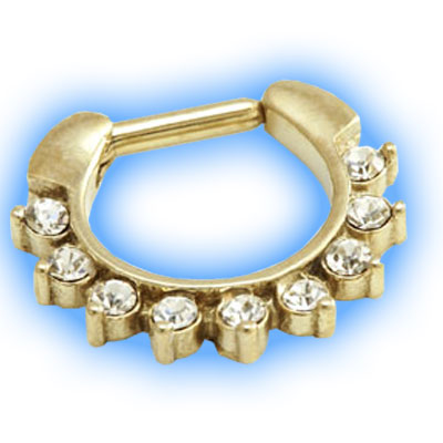 Gold PVD Jewelled Petal Septum Clicker