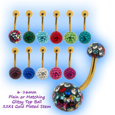 Glitzy Belly Bar - Gold Plated Stem