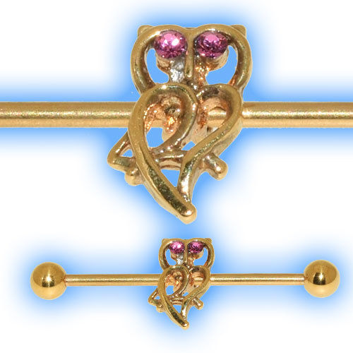 Gold Plated Industrial Barbell with Owl for Scaffold Ear Piercing