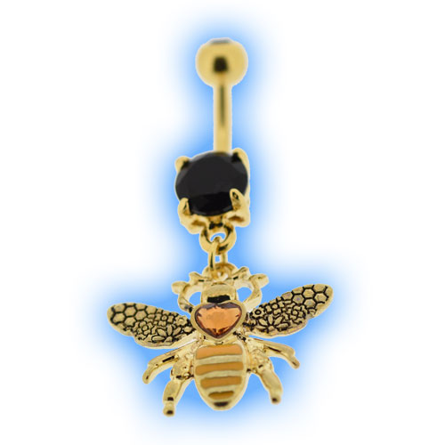 Bumble Bee Belly Bar in Gold PVD