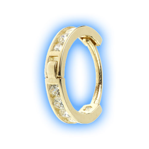 Gold Channel Gem Hinged Ring - 0.8mm (20 gauge)