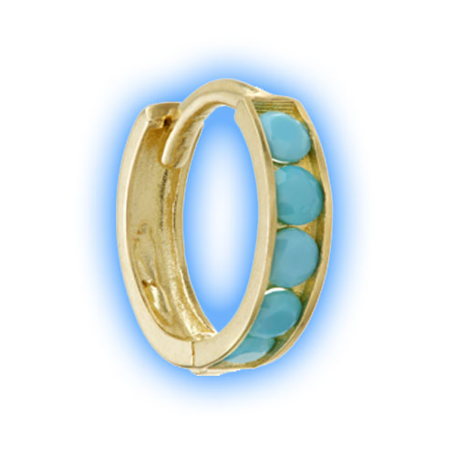 Gold Channel Turquoise Hinged Ring - 1 (18 gauge)