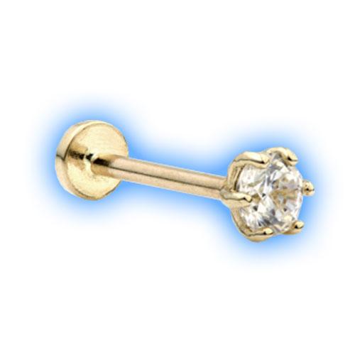 14 Carat Gold Internal Labret with Clawset Gem