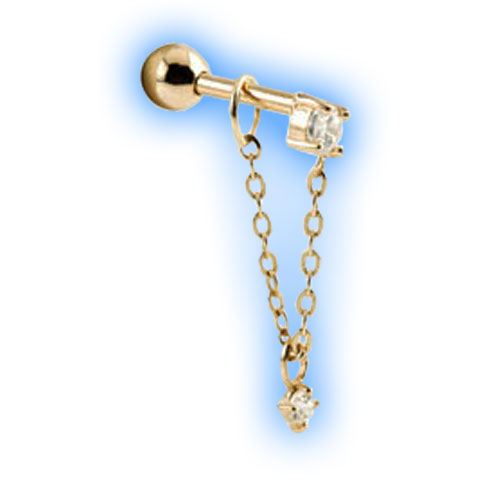 Gold Barbell with chain and dangling gem - 1mm (18 gauge)