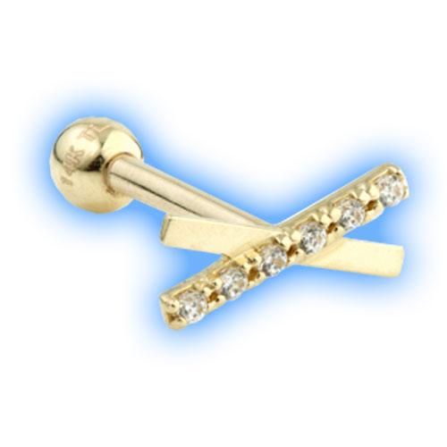 Gold Barbell with gem bar and cross design - 1.2mm (16 gauge)