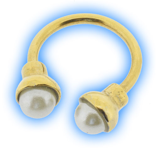 Gold Plated Pearl Micro Circular Barbell CBB