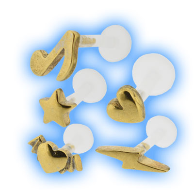 Bioflex Push Fit Labret - Gold Plated Charm