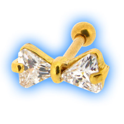 Gold PVD Jewelled Bow Ear Tragus Stud