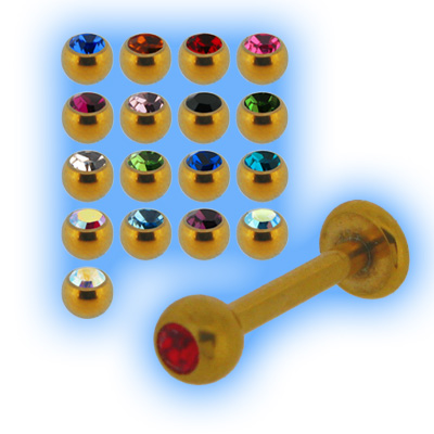 Gold Plated Labret Stud & Jewel Ball - 1.2mm (16G)