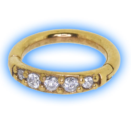 22k Gold Plated Pave Gem Hinged Micro Ring