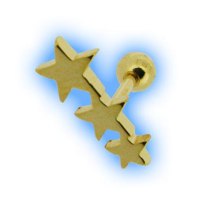Gold Plated Flat Star Trio Ear Stud