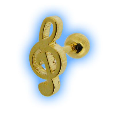 Gold Plated Treble Clef Ear Stud Musical Ear Jewellery