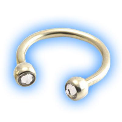 Gold PVD Titanium Circular Barbell With Jewelled Balls - CBB 1.2mm (16 gauge)