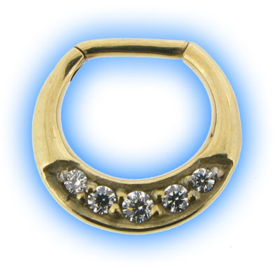 Gold PVD Jewelled Septum Clicker