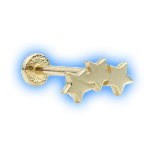 14 Carat Gold Internal Labret with Star Trio