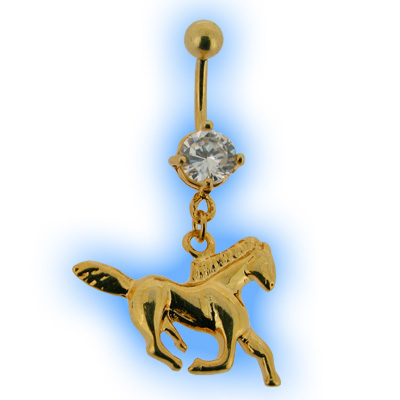 Gold Plated Horse Dangly Belly Bar