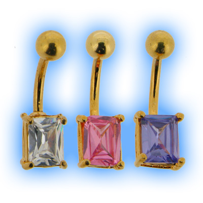 Gold Plated Rectangle Belly Bar