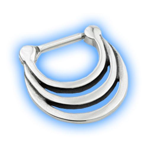 Steel Hinged Loop Septum Ring - 1.2mm (16 gauge)