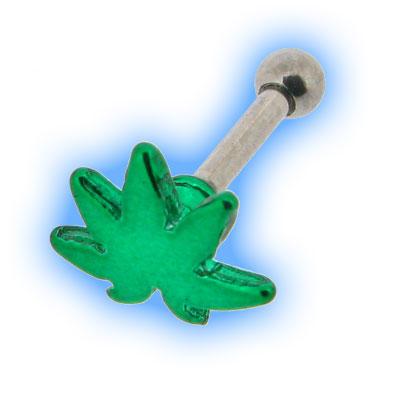 Green Hemp Leaf Ear Stud