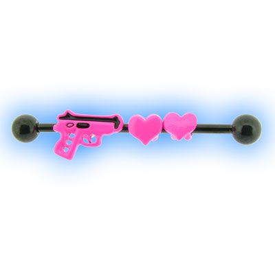 Black PVD Industrial Barbell with Pink Gun and Hearts