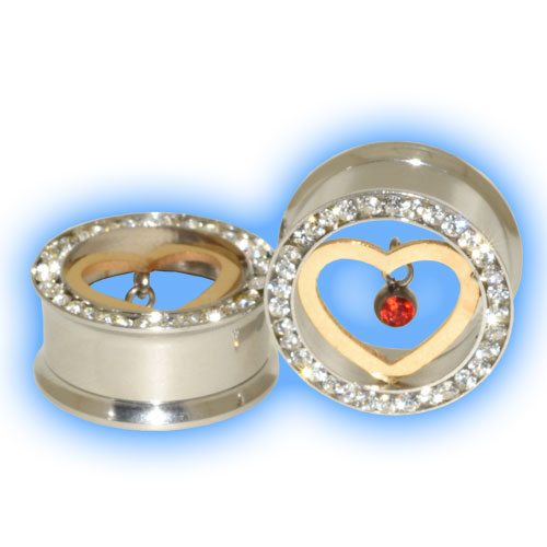 Steel Gem Screw Tunnel with Love Heart