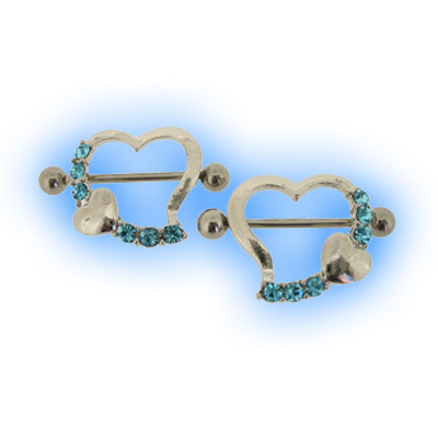 Pair Aqua Jewelled Heart Nipple Shields