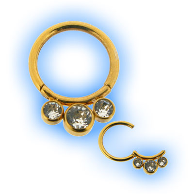 Gold Hinged Segment Ring with Gems