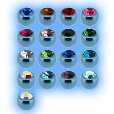 Ice Blue Titanium Screw On Jewelled Ball - 1.2mm (16g)