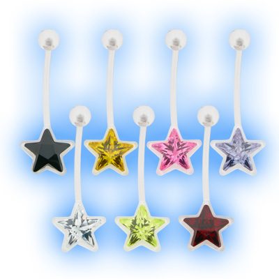 Pregnancy Belly Bar Jewelled Star