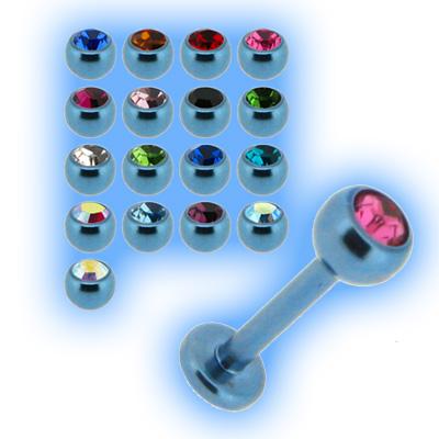 Ice Blue Titanium Labret Stud & Jewelled Ball - 1.2mm (16g)