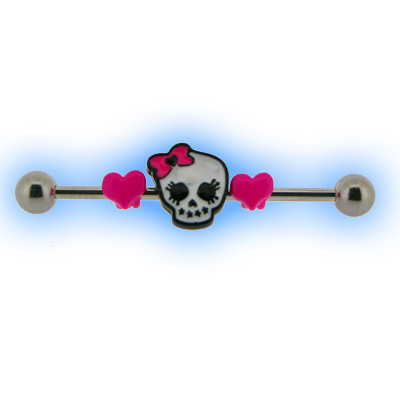 Industrial Barbell with Skull and Hearts for Scaffold Ear Piercing