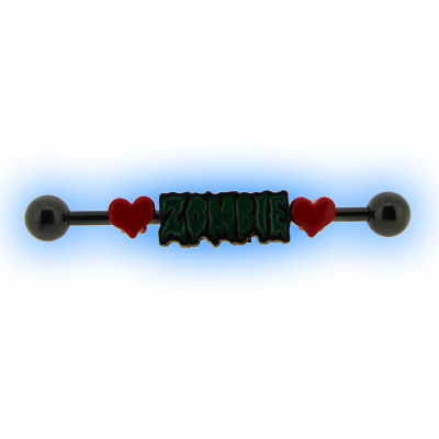 Black PVD Industrial Barbell with Zombie Love for Scaffold Ear Piercing
