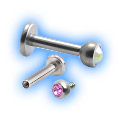 Titanium Internally Threaded Jewelled Ball Labret - 1.2mm (16 gauge)