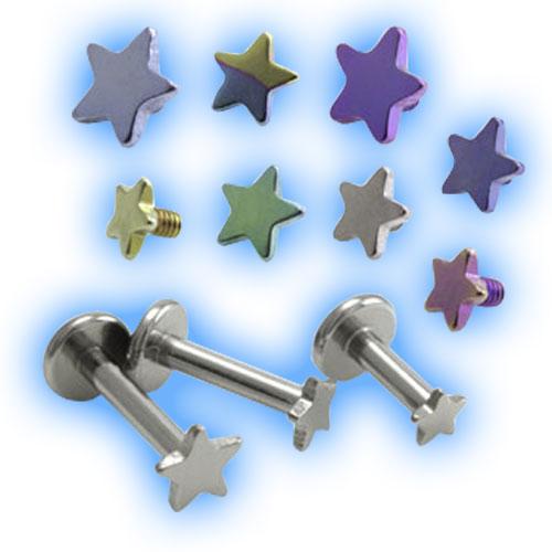 1.6mm (14g) Titanium Internally Threaded Labret - Flat Star