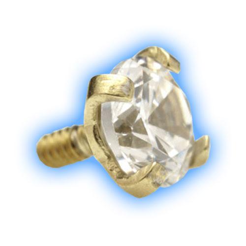 Gold PVD Claw Set Gem for 1.2mm (16 gauge) Internally Threaded Jewellery