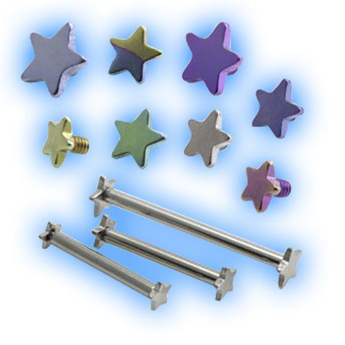 Internally Threaded Double Star Barbell - 1.6mm (14 Gauge)