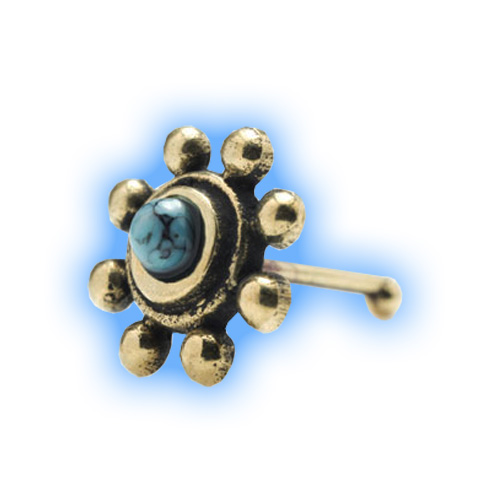 Brass Sunshine Nose Stud with Turquoise stone